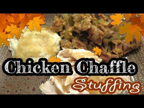 chicken-chaffle-stuffing-dressing- -keto-recipes-thanksgiving- -keto-low-carb-white-bread-chaffles