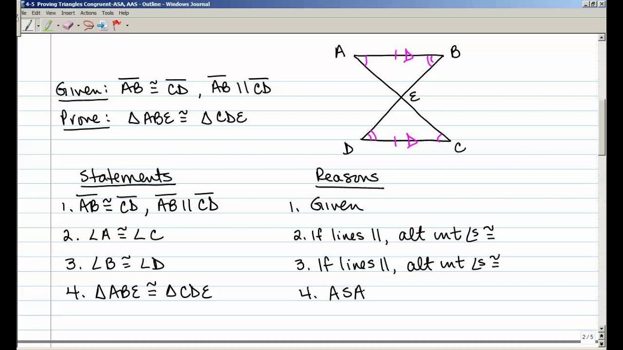 4 5 Proving Triangles Congruent With Asa And Aas Youtube