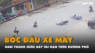 Bốc đầu xe máy, nam thanh niên gây tai nạn trên đường phố