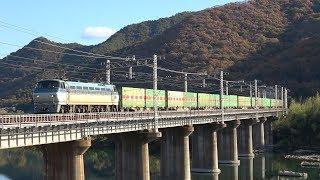 [迫力のジョイント音!] 秋の吉井川橋梁を通過する長大貨物列車&旅客列車