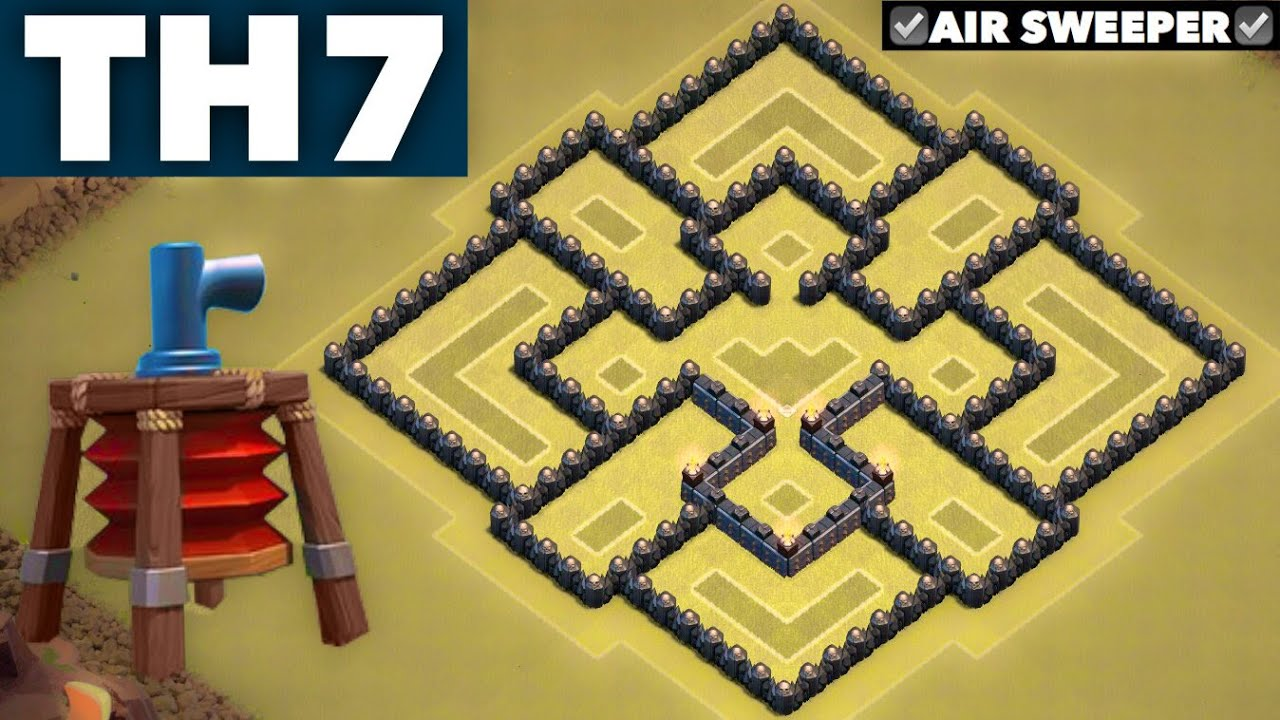 Best undefeated 1 town hall 7 th7 clan wars base with air sweeper