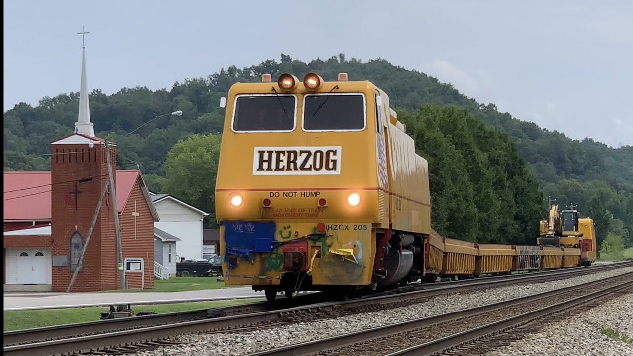 Download Weird Train Passed By Fast  Freight Train On Norfolk Southern Main Line, Trains In West Virginia, NS