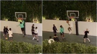 LeBron's sons Bronny & Bryce have late night hoop session with Shaq's sons Shareef & Shaqir