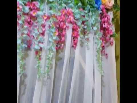 tirai bunga pernikahanflower dekor 081212623361 - youtube