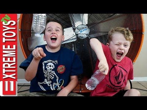 Thumbnail: Extreme Toys Short: Epic Bottle Flip Challenge! Ethan Vs. Cole, and the Giant Hurricane Fan!