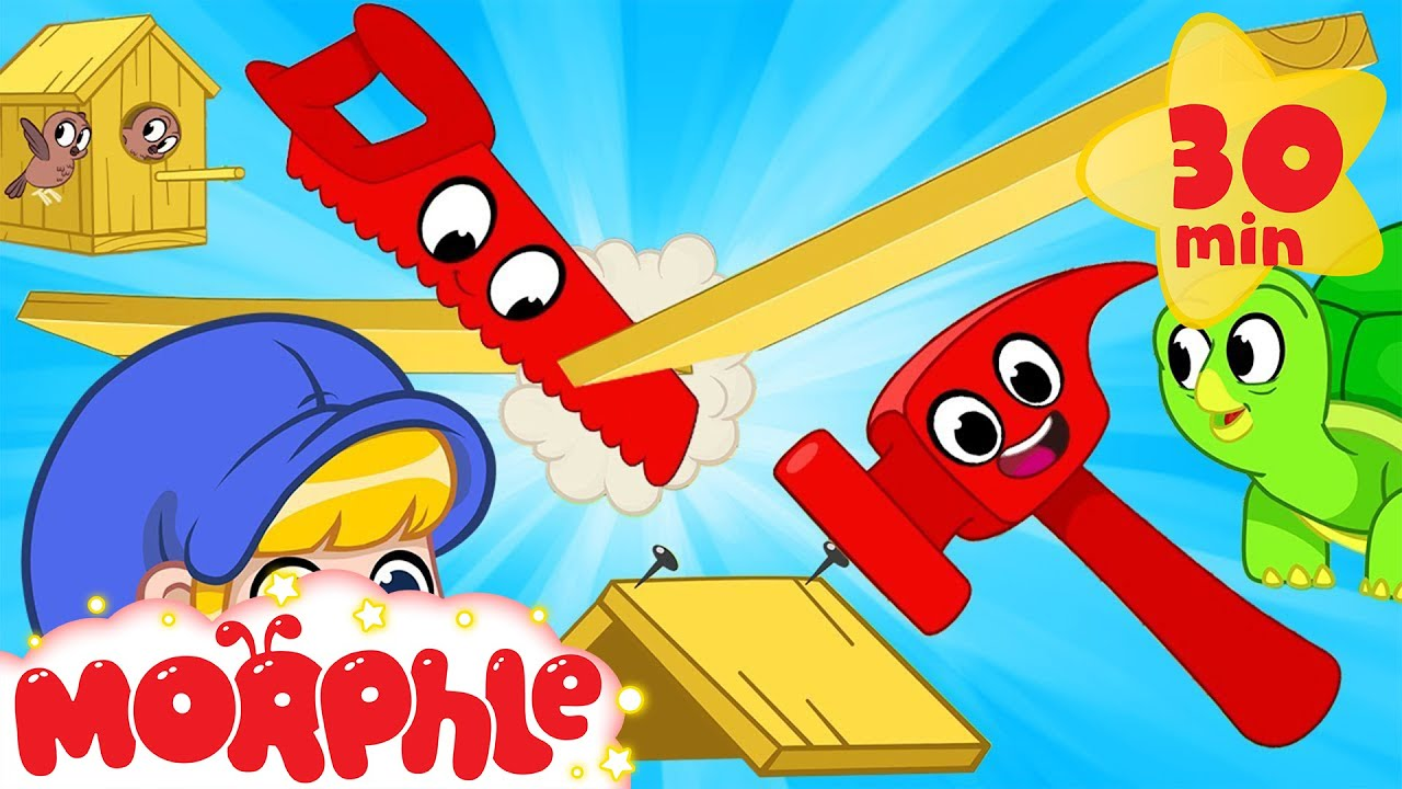 Morphle Builds Houses - Hammer and Construction   Mila and Morphle   Cartoons for Kids   Morphle TV