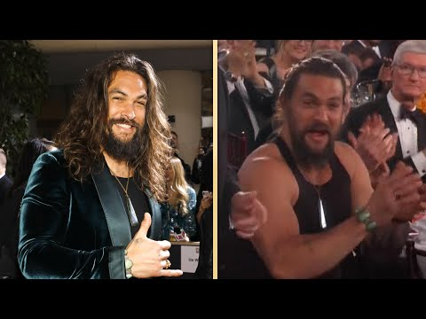 Jason Momoa Sports Just a TANK TOP Inside the Golden Globes 2020