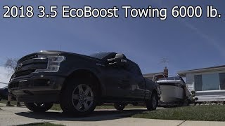 2018 3.5 EcoBoost F150 Towing a heavy load.