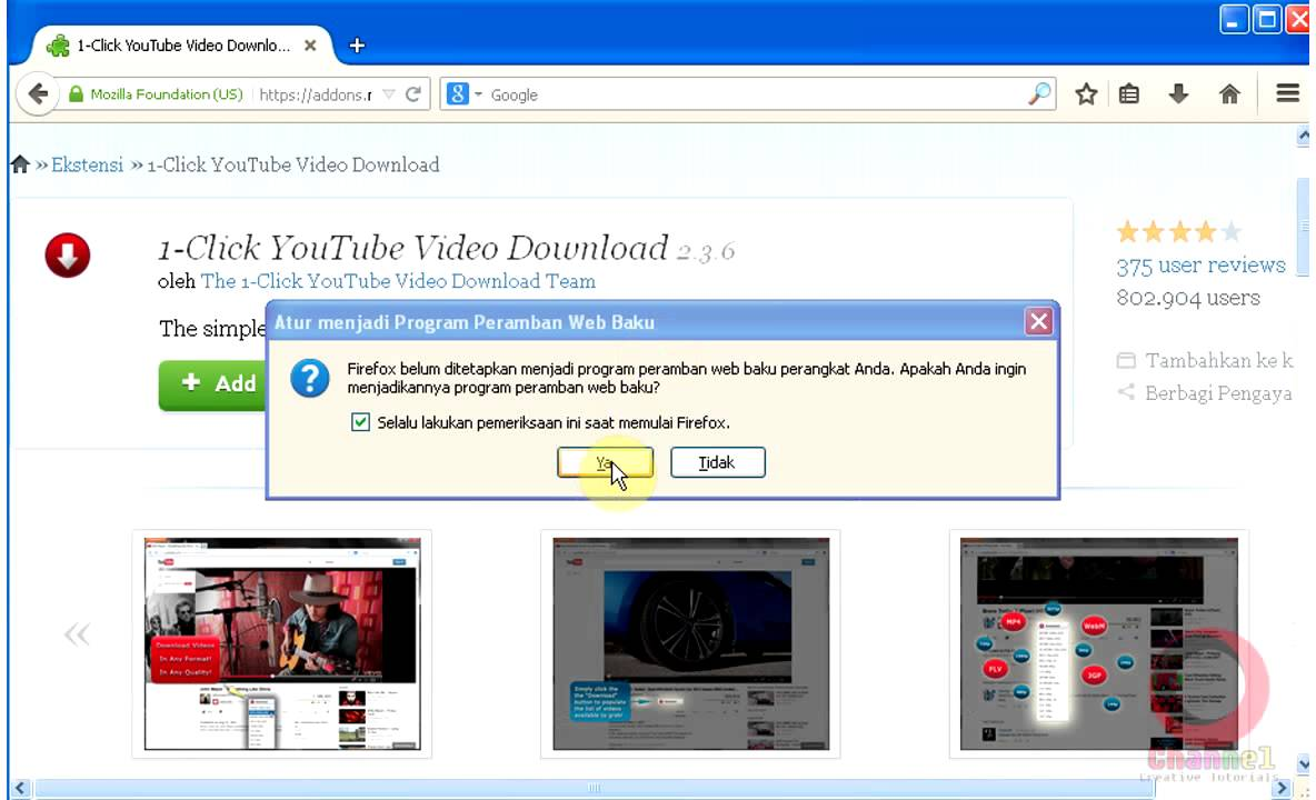 add on firefox : 1 click youtube download