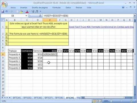 Excel Facil Truco #39 Diagrama de Gantt para calendario con dias - diagrama de gantt en excel