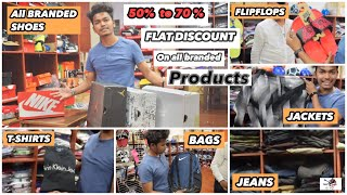 branded shoes in cheap rates | jeans || tshirt ||shirts 👔|| bagpacks ||50% TO 70% off(mumbai market)