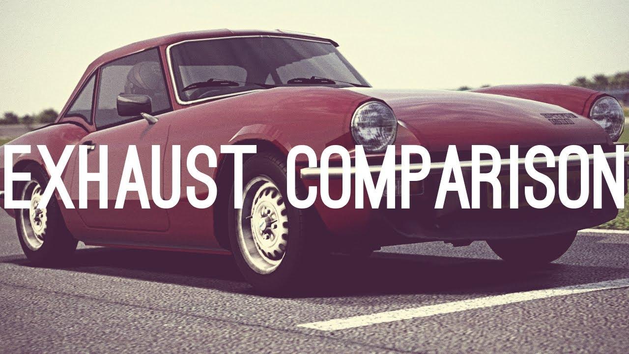 gt6) triumph spitfire 1500 '74 - exhaust comparison - youtube
