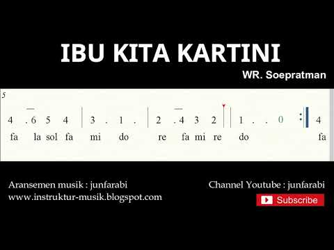 Not Angka Ibu Kita Kartini - Do = C Mayor - Lagu Wajib Nasional - Doremi Solmisasi