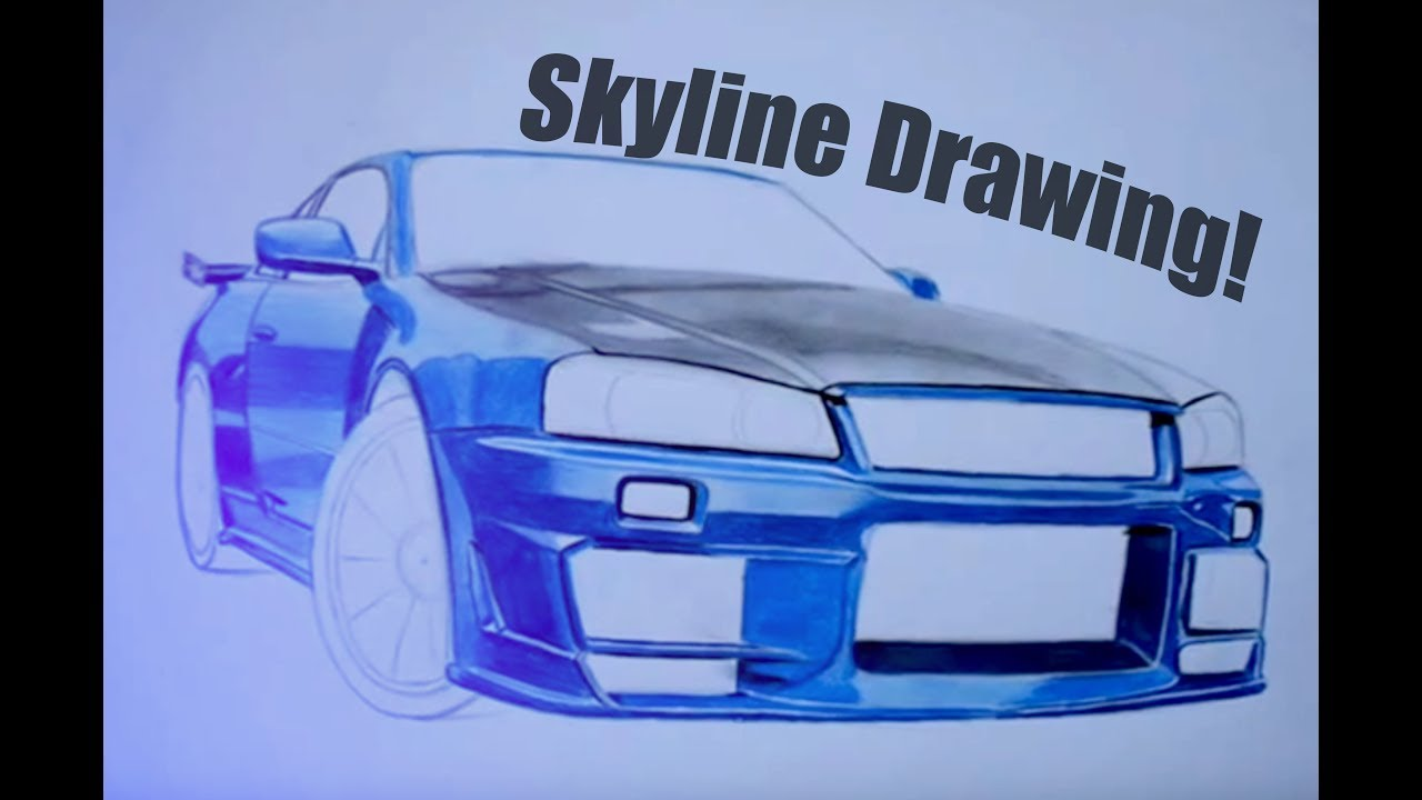 Nissan Skyline GTR34 - Amazing Drawing / Autozeichnung Step by Step ...
