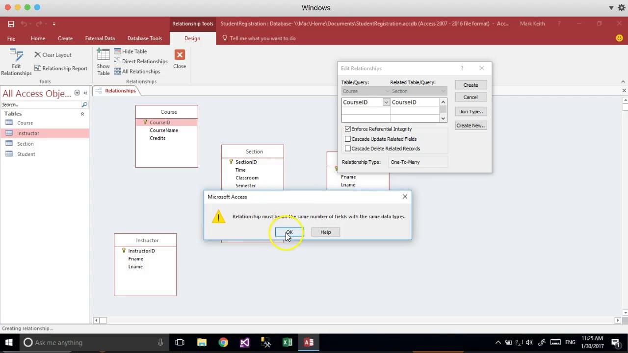 Convert erd to ms access student registration example youtube convert erd to ms access student registration example ccuart Images