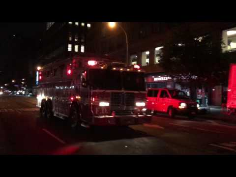 FDNY RESCUE 1 RESPONDING TO A 10-75 ALL HANDS FIRE ON WEST 85TH STREET ON WEST SIDE OF MANHATTAN.