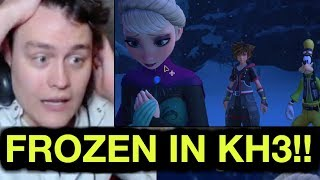 KINGDOM HEARTS 3 FROZEN TRAILER REACTION! FROZEN WORLD GAMEPLAY, ELSA AND AQUA! | RogersBase E3 2018