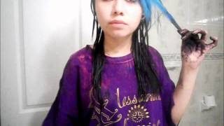 How I dyed My Blue hair to Black(: