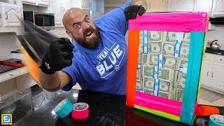 Unbreakable Cash Box Challenge! Can He Win $2000 Real MONEY?!