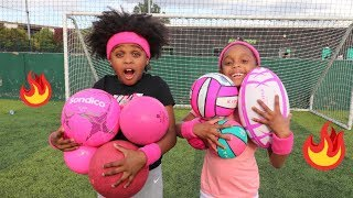 Twin vs Twin Play Pink Multiball Football Challenge!