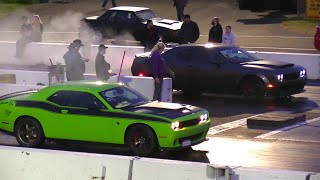780hp Hellcat calls out Demon - 1/4 mile drag race Dodge Demon vs Hellcat Challenger