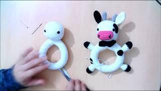 amigurumi çıngırak kırmızı burunlu inek çıngırak parçalarını birleştirme free pattern bebek yapımı