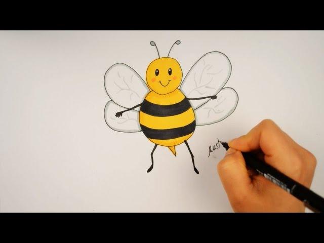 تعليم الرسم للاطفال   تعليم رسم نحلة للمبتدئين خطوة بخطوة - drawing for kids