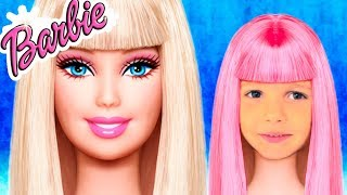 Katy pretend Barbie with puppy and play with make up for kids and building playhouse