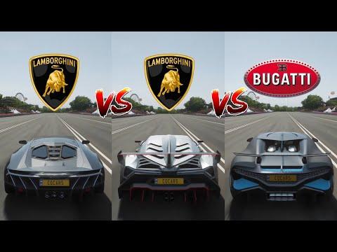 Forza Horizon 4: Bugatti Divo Vs. Lamborghini Veneno Vs. Lamborghini Centenario Drag Race