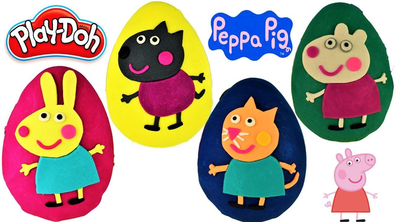 Huevos Sorpresas Gigantes Peppa Pig y Sus amigos Rebbeca Suzy de Plastilina Play Doh en Español