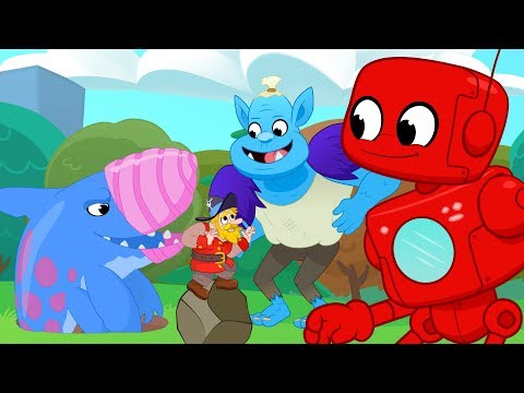 Thumbnail: Giant Friends Golf & Big Creatures (Robot, Mountain Giant, Earthshark, Monster, Dinosaurs) for Kids!