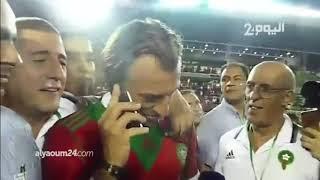 شاهد.لحظة تلقي رونار اتصالا من الملك محمد السادس بعد الفوز