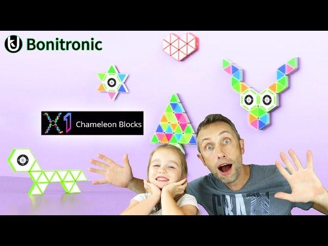 Des triangles de couleurs magnétiques qui s'illuminent et clignotent ! Chameleon Blocks BONITRONIC