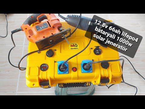 12,8v 66Ah lifepo4 bataryalı 30Amp şebekeden şarj destekli 1000w Taşınabilir solar jenaratör