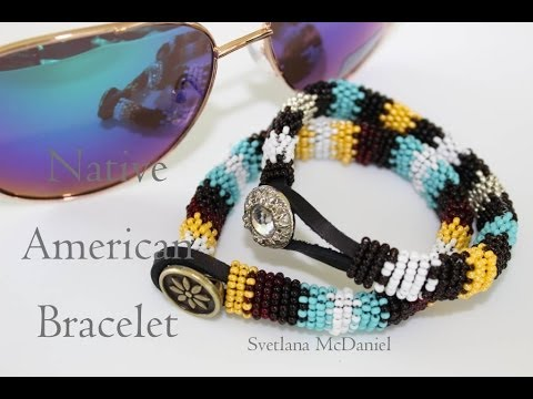 Native american style bracelet seed beads leather cord for How to make american indian jewelry