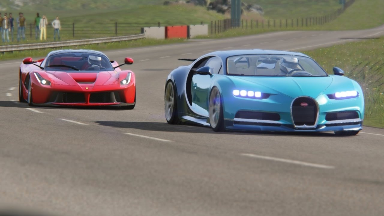 Battle Ferrari LaFerrari vs Bugatti Chiron at Highlands - YouTube