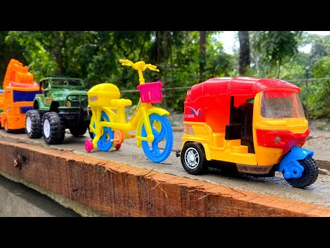 Reviewing Some Colorful Plastic Toy Vehicles   CNG Autorickshaw, Bicycle, Army Jeep, Excavator Truck thumbnail