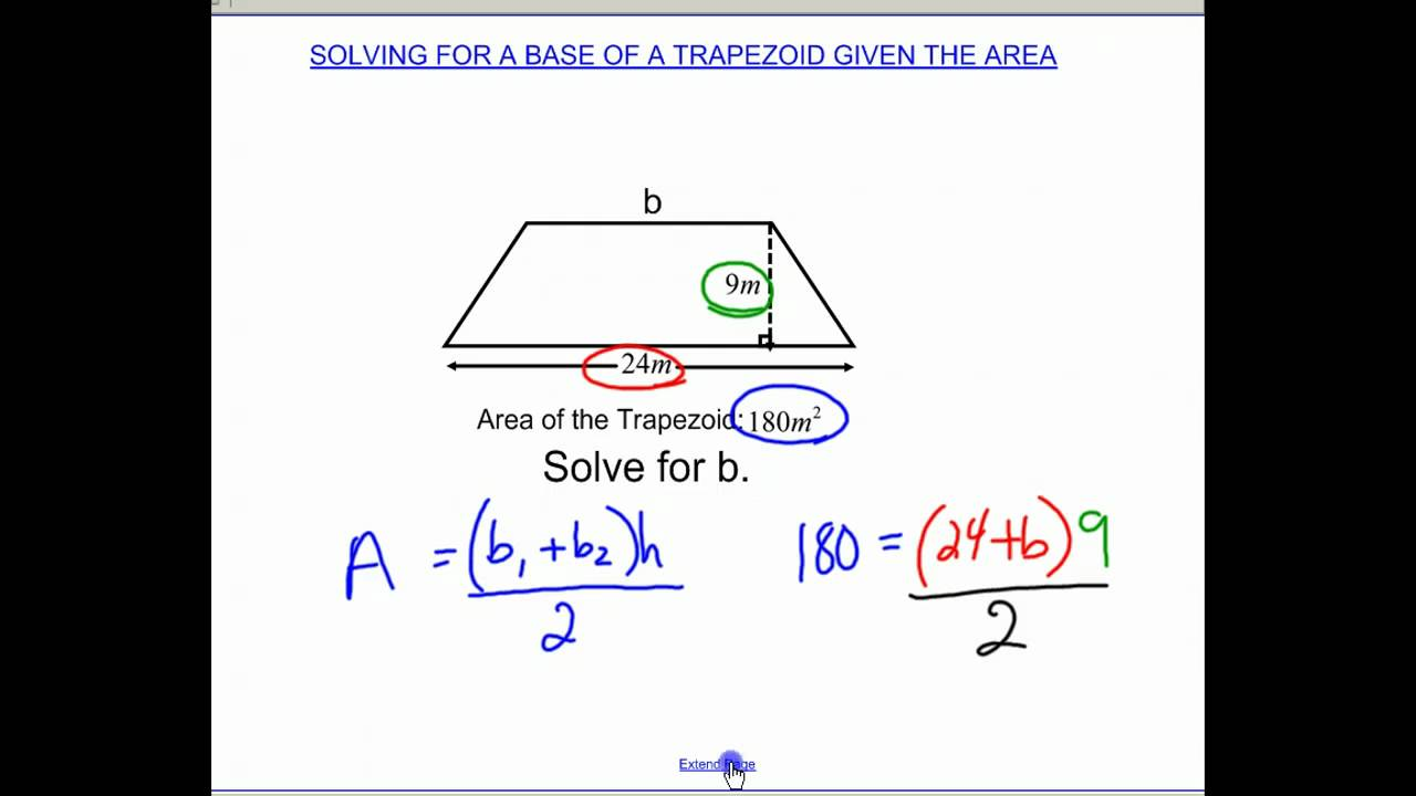 Solving for a base of a trapezoid given area youtube solving for a base of a trapezoid given area ccuart Choice Image