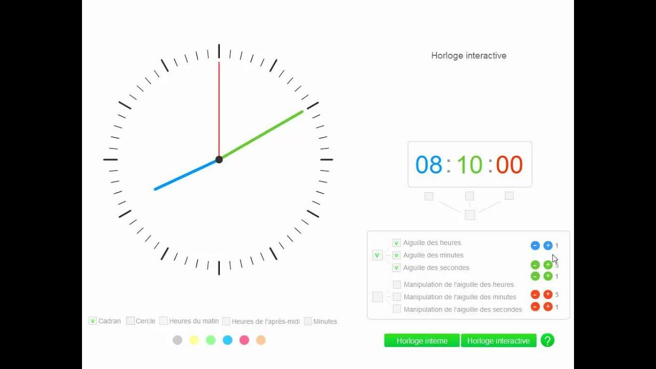 une horloge interactive pour apprendre l 39 heure avec les petits youtube. Black Bedroom Furniture Sets. Home Design Ideas