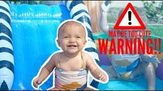 BABY TWINS SUMMER POOL SPLASH HAPPINESS (CUTENESS OVERLOAD)