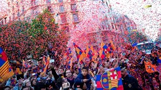 Victory parade and celebrations for history second fc barcelona treble that will end with a party at camp nou. the streets were packed fans on...