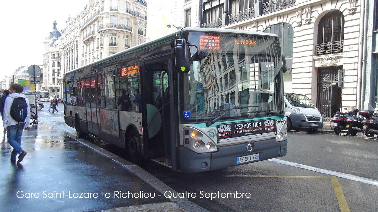paris bus ratp irisbus citelis rt 20 gare saint lazare to bourse youtube. Black Bedroom Furniture Sets. Home Design Ideas