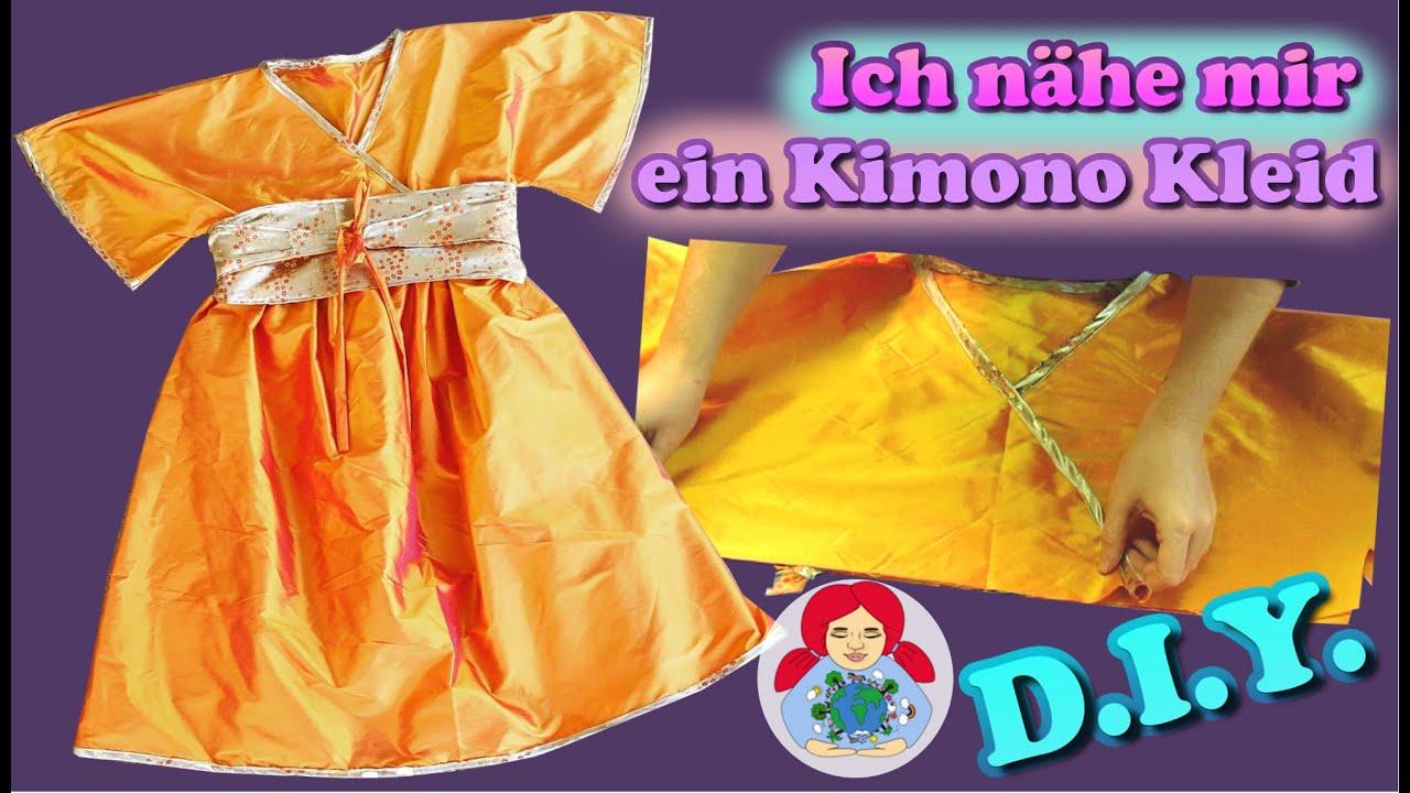 DIY | Kimono Kleid nähen Schritt für Schritt (Damengröße) - YouTube