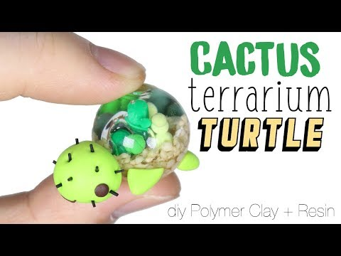 How to DIY Desert Cactus Terrarium Dome Turtle Polymer Clay Resin Tutorial