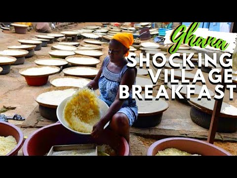 STRANGEST LOCAL BREAKFAST STREET FOOD IN GHANA, West African Food Attike in Ghana,How Attike is made