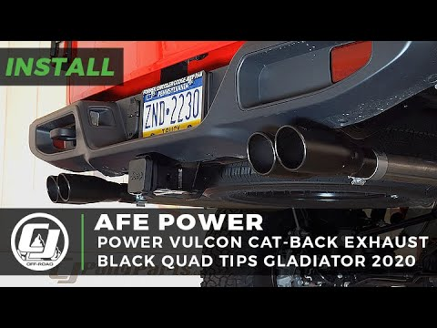 jeep gladiator install afe power vulcon dual cat back exhaust system with quad tips