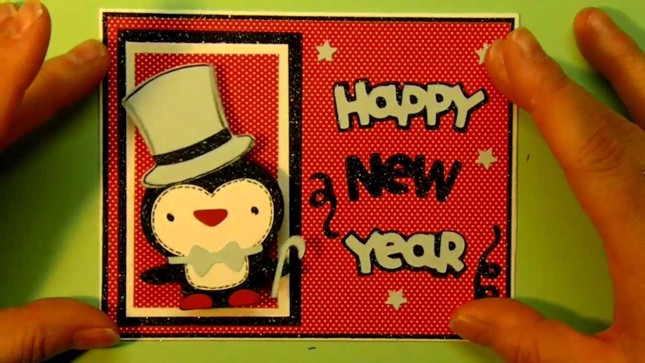 cricut create a critter 2 series penguin and happy new year card 1