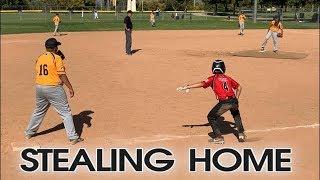 KIDS PLAYING BASEBALL: STEALING BASES