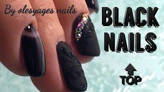 Черный крутой маникюр •♥• BEST BLACK NAIL •♥• Nogtika & Olesyages Nails