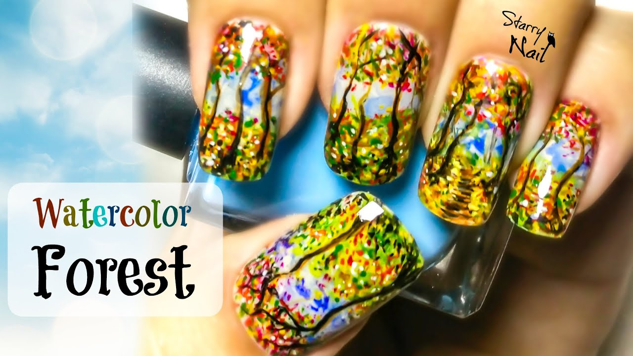 Watercolor Forest Nail Art Tutorial Youtube